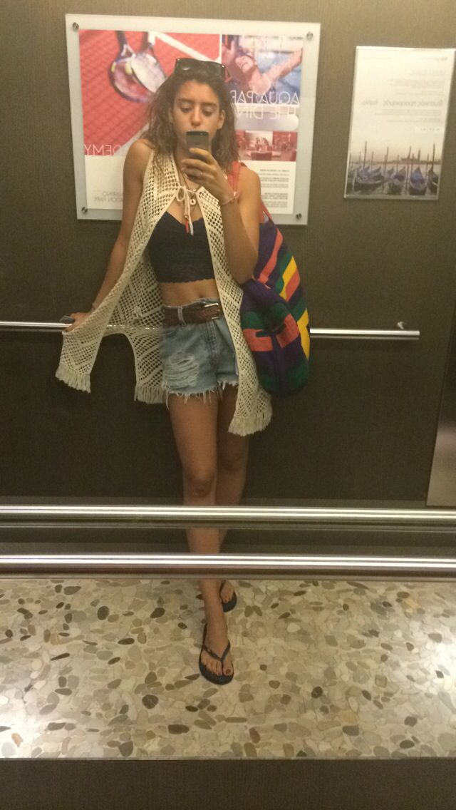 Elevator selfie! Ready for the beach