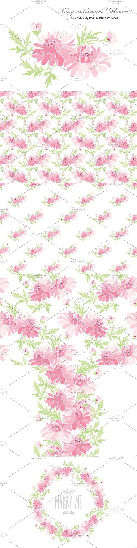 Chrysanthemum Bouquet + Patterns. Wedding Card Templates. $5.00