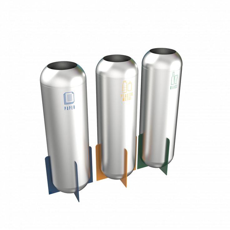 SPIKA SST - Futuristic design stainless steel recycling bins