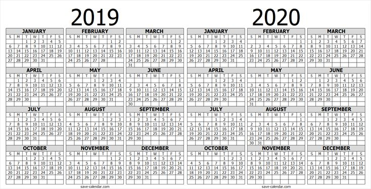 calendar 2019 2020 one page