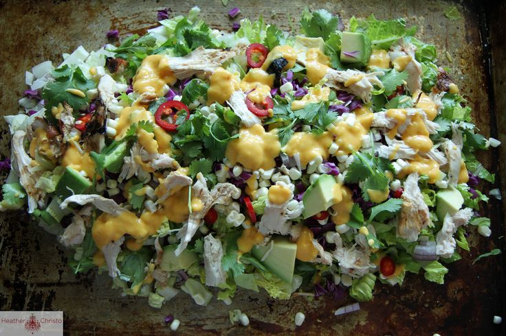 chicken chop salad with creamy mango dressing