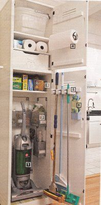 Add a specific space in mud room/ laundry room for a cleaning closet space - brooms, vacuum, paper towels, etc