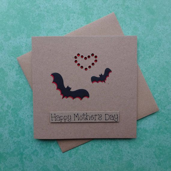 Mothers Day card with two bats and a gem heart - Mum & baby bat handmade card for Mum / Mom.  This Happy Mothers Day bat card uses recycled Kraft card and has a Mother and child bat with gems in the shape of a heart. The colour of the shadow of the birds and the gems can be selected from the drop-down menu. The sentiment on this Mothering Sunday card is added with 3D foam and reads: Happy Mothers Day  PERSONALISING YOUR CARD: You can choose the colour of the matching shadow and gems ...