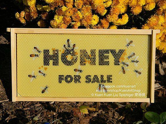 Honey For Sale Sign Original Bee Art Honey Bee Wall by KuenArtShop