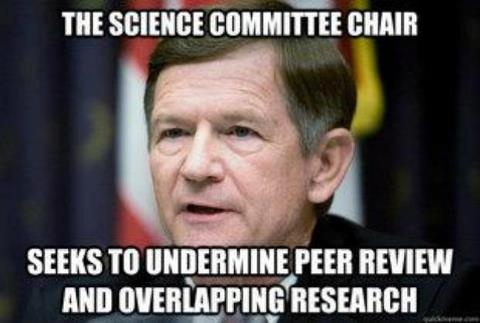 "Representative Lamar Smith from Texas has introduced a bill that would remove the peer-review requirement from National Science Foundation grants. This bill is called the ""High Quality Research Act of 2013"" and it is incredibly inappropriately named. President Obama has vowed to protect scientific integrity, but this issue should not have to come down to a presidential veto."
