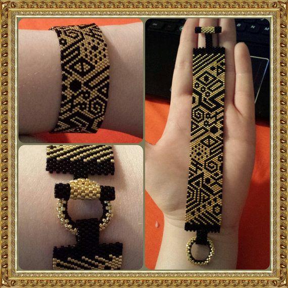 Tribal Black and Gold Peyote Stitch Bracelet