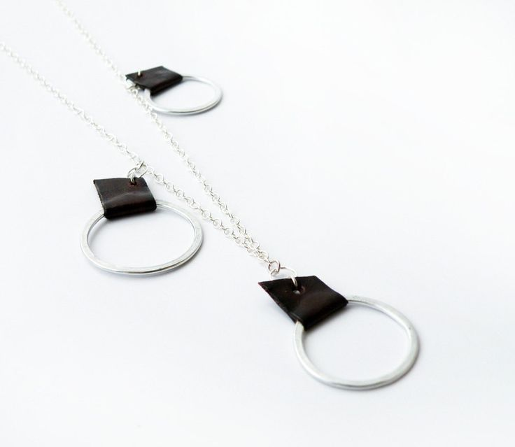 Minimalist  Ethereal Sterling Silver  Geometric Necklace Brown Leather Aluminum Hoops by SteamyLab