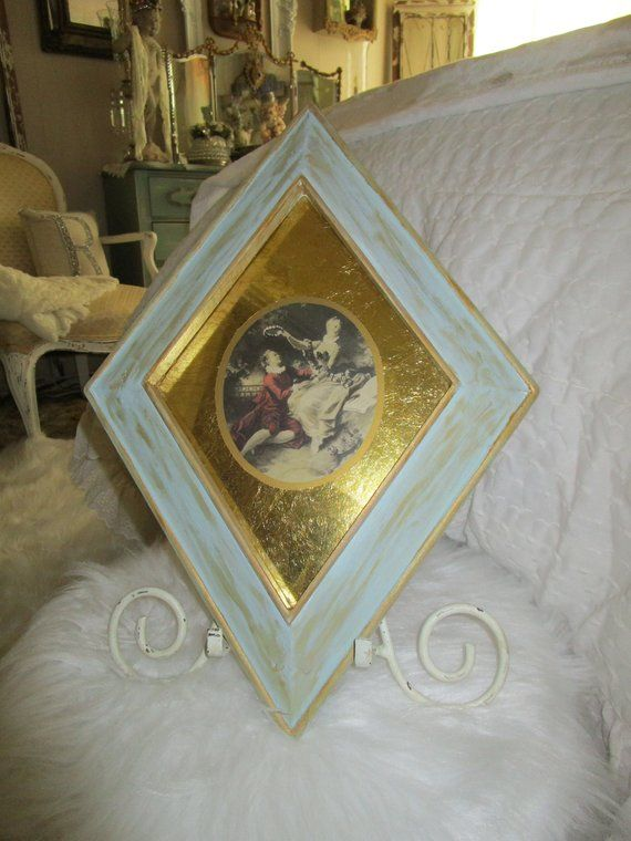 Victorian Gold Foil Courting Wall Decor Triangle Frame French Country