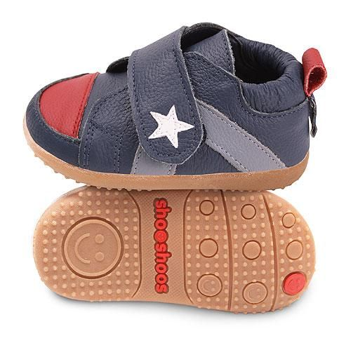 Navy & Red Star Velco Boys shooshoos   www.shooshoosuk.com