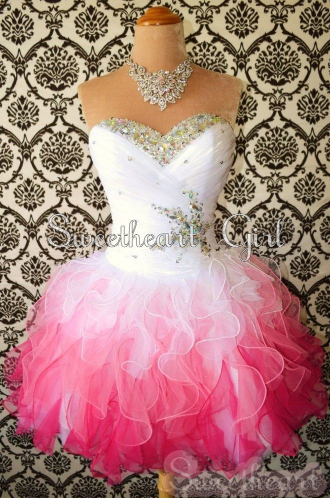 Sweetheart Girl | Sweetheart White / Red Mini drahokamu Organza ples šaty / Homecoming šaty | Online Store Powered by Storenvy