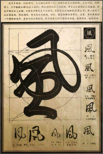 """文字移植 """"Wind"""" in different calligraphic styles"""