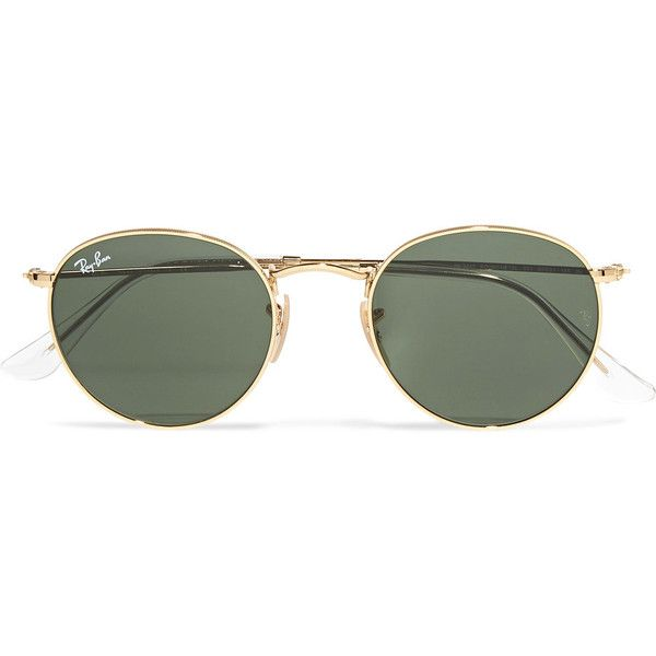 3ef30235fe Ray-Ban Round-frame gold-tone sunglasses ( 155) ❤ liked on Polyvore ...
