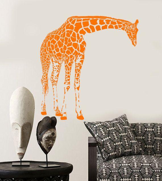 Wall Vinyl Decal Jungle African Safari Decor Giraffes Family