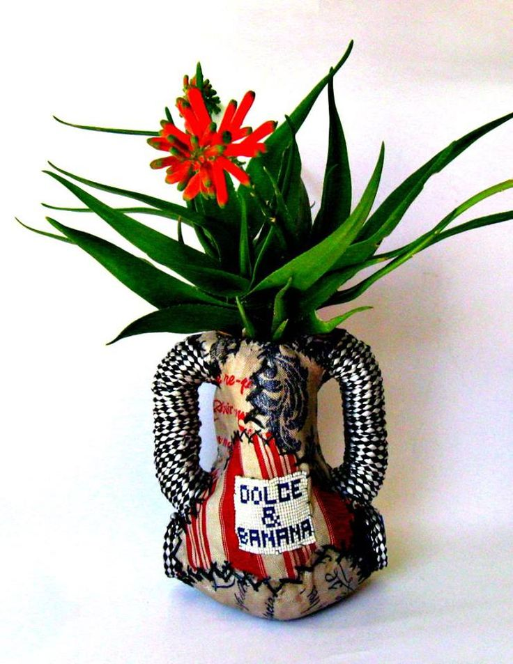 textile vase made from 2 x 5l plastic containers