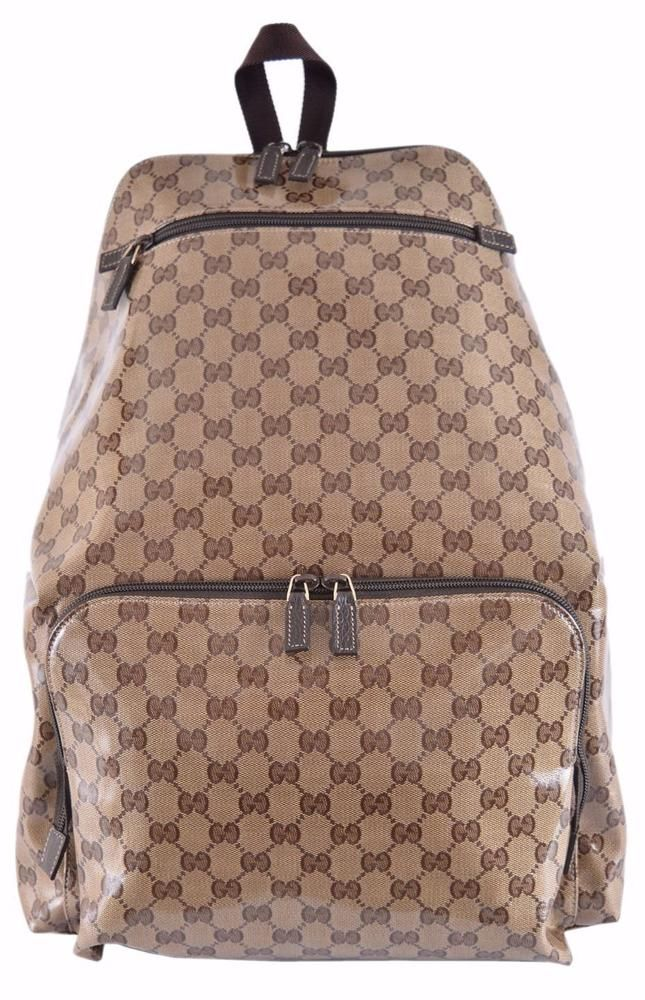 4935097f93c886 NEW Gucci 179606 Crystal Canvas XL GG Guccissima Travel Backpack Purse Bag # Gucci #Backpack | Annie's Unique Accessories/Gucci | Gucci, Backpacks, Bags