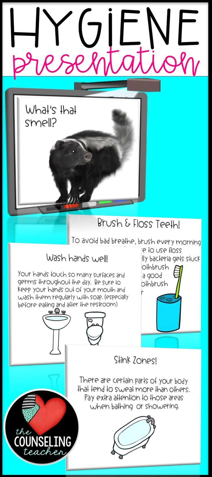 Hygiene reminders are a necessary part of the education process. Students need reminders of these useful hygiene tips to stay fresh and clean. This presentation can be used as a small group lesson or as a whole group presentation.