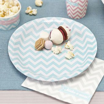 Striking mint green chevron paper plates. Ideal for a birthday party, baby shower or any special occasion including summer parties!