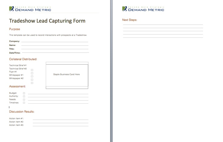 Tradeshow Lead Capturing Form A Template To Assist You With Documenting Interactions That T Marketing Strategy Template Simple Newsletter Templates Templates