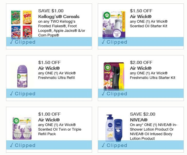 NEW AIR WICK, KELLOGG'S CEREAL, & MORE COUPONS http://simplesavingsforatlmoms.net/new-air-wick-kelloggs-cereal-coupons/