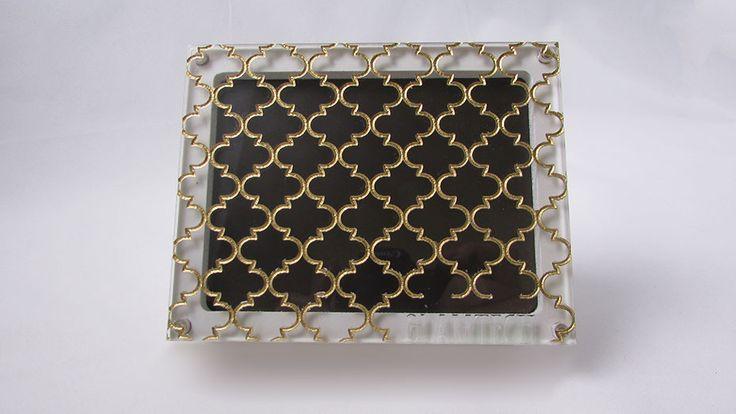 GlamTech - Custom Magnetic Makeup Palettes 308 - Morocco - Folied Gold on White Base