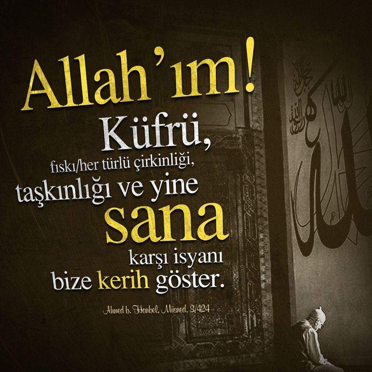 Allah'ım! Küfrü, fıskı / her türlü çirkinliği, taşkınlığı ve yine sana karşı isyanı bize kerih göster. (Ahmed b. Hanbel, Müsned, 3/424)  #Allah #küfür #çirkin #isyan #hadisler #hayırlıcumalar #ilmisuffa