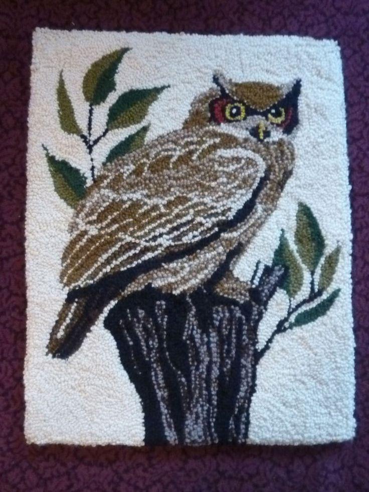 """Vintage Handmade Owl Latch Hook Rug Made of Wool 21"""" X 26"""""""