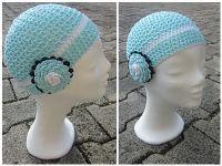 Crochet beanie, 100 % cotton also for warmer days