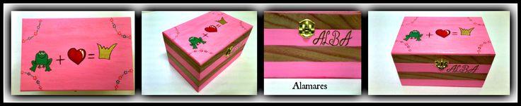 Para Alba Caja de madera personalizada. Para las sandalias de cuero Alamares.