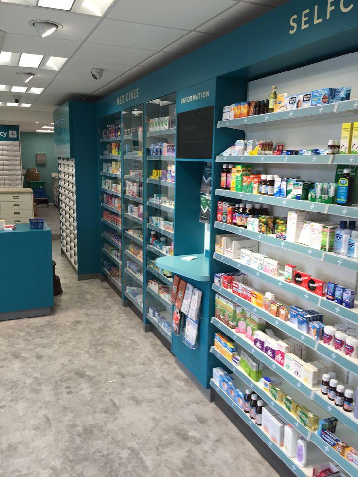 Glass Shelves Retail Pharmacy Interior Design 016
