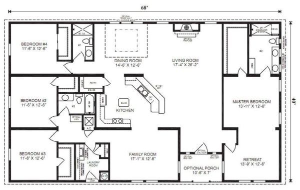 ranch house floor plans 4 bedroom love this simple no watered space plan add a wraparound porch garage with additional storage room and it woul - 4 Bedroom House Floor Plans