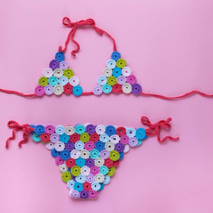 Resultado final: bikini para niña de crochet tejido con algodón