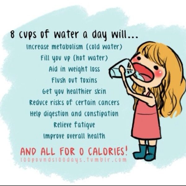 8 Cups of Water a Day Will…  Increase metabolism, Fill you up, Aid in weight loss, Flush out toxins, Get your healthier skin, Reduce risks of certain cancers, Help digestion and constipation  Relieve fatigue, Improve overall health... AND ALL FOR 0 CALORIES