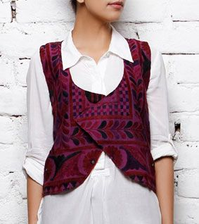 Handcrafted Purple Choli Jacket with Kutch Embroidery