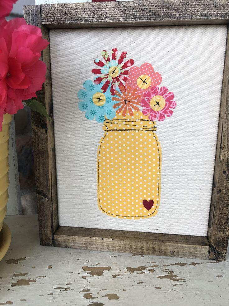 Wood Framed Fabric Wall Art -Yellow Flower Jar Bouquet