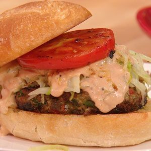 Jose's Chimichurri Burgers (from Rachel Ray) - LOVE Chimichurri sauce & putting inside burger, with crunchy cabbage/onion on top..yum.