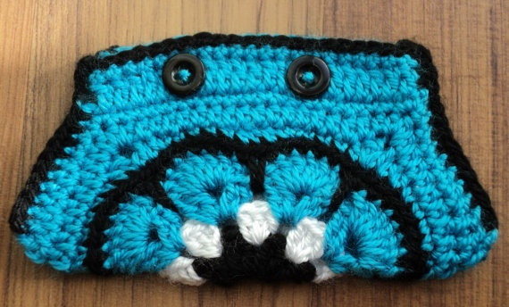 BLUE crochet African Flower POUCH with black by IstanbulMystique, $12.95