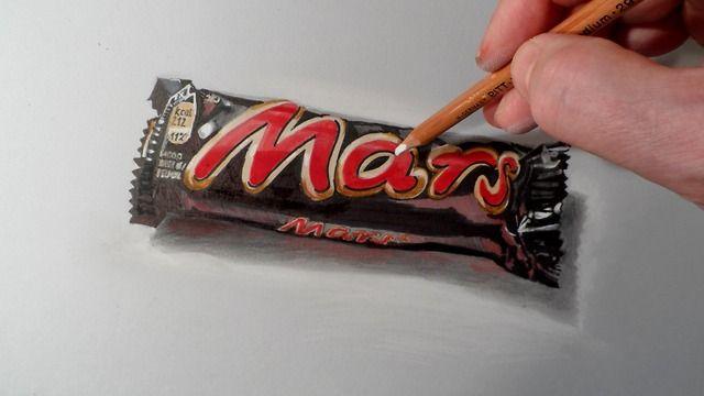 How To Draw A Realistic Candy Bar Mars Chocolate Mars Chocolate