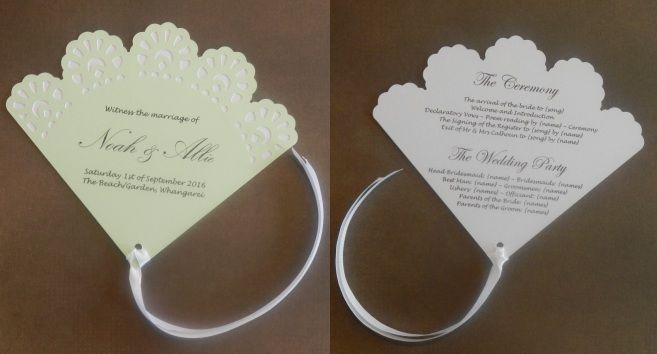 Vintage Doily Design Fan Wedding Programme