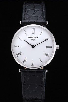 Longines La Grande Classique Cadran blanc Bracelet en cuir noir Hommes lg43