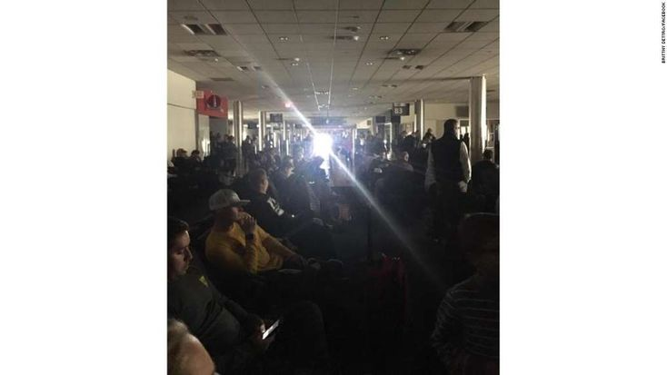 Atlanta's Hartsfield-Jackson airport crippled by power outage  -  December 17, 2017.  A passenger at Atlanta's airport posted this photo of a darkened terminal Sunday to Facebook.