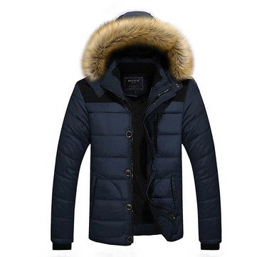 Winter Casual Outdoor Thicken Warm Plus Size Furry Hooded Jacket Coat for Men