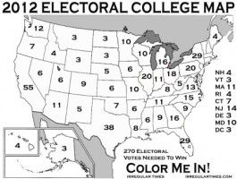 Electoral College Map: Electoral College votes compared to Popular Election votes via Yummy Math