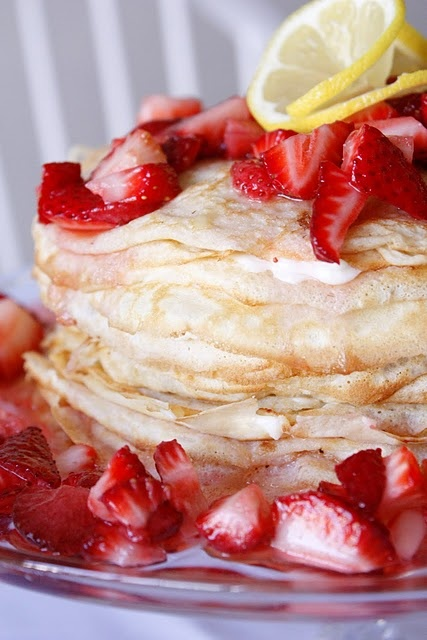 Lemon strawberry crepe cake - could be for breakfast, brunch, or dessert: Crepes Cakes, Desserts, Strawberries Crepes, Crepes Recipes, Food, Crepe Cake, Lemon Strawberries, Lemon Cream, Cream Cheeses