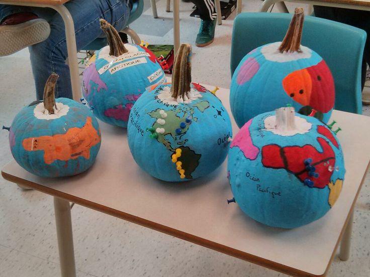 Mr. Scullion's unique Geography Project with pumpkins.