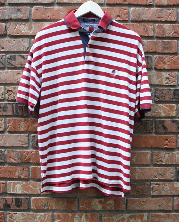 aa4ad3c2 Vintage Tommy Hilfiger Red/White Striped Polo Men's Large | 90's ...