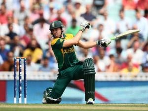 ICC Champions Trophy 2013 | SA vs England. AB de Villiers is caught behind for a duck. Photo: Paul Gilham