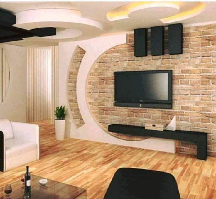 Gypsum Board Tv Wall Design With Led Lights For Modern Living Tv Wall Design Tv Room Design Wall Tv Unit Design