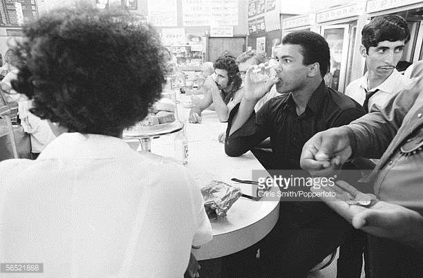 American heavyweight boxing champion Muhammad Ali at the counter of a diner in Miami Beach 26th February 1971