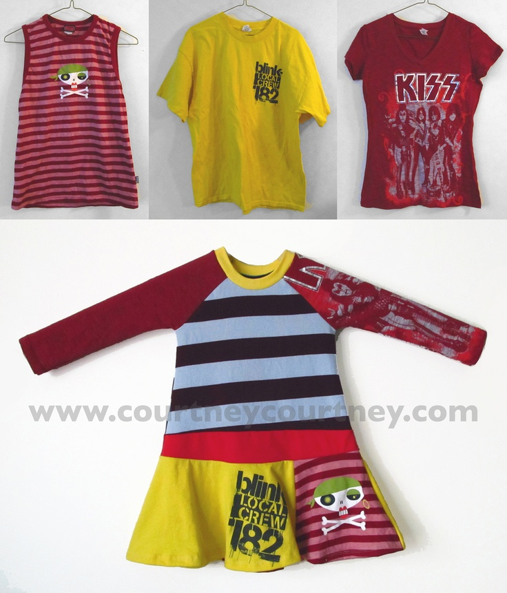 Awesome repurposing old shirts tutorial for kiddos...L would be adorable in something like this.  Of course, all we have are old Bluth,  Batman, Mountain Dew, drama dept., and choir dept. shirts.