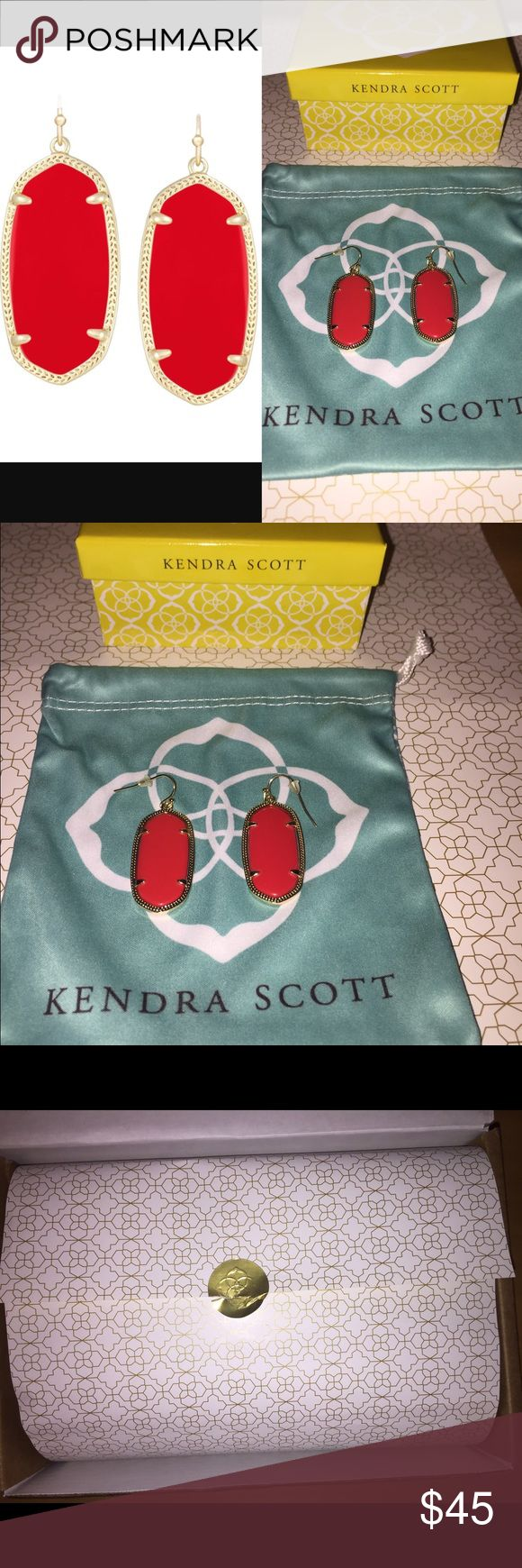 Kendra Scott Elle Earrings In Bright Red Brand new but with out tags Kendra Scott Elle Earrings In Bright Red. Comes with Kendra Scott yellow gift box, jewelry dust bag, and blue ribbon. Originally ordered as gifts for a silent auction raffle. But decided to keep instead. As you can see from picture, I ordered these and they came beautifully packaged inside the yellow gift boxes. The only time the earrings were ever taken out of the dust bag, was to remove price tag before raffle & to take…